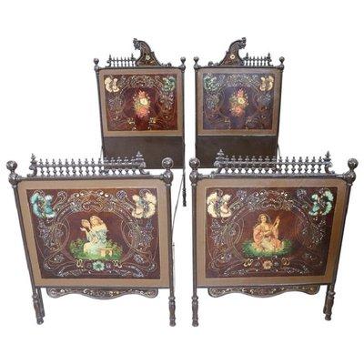 Vendita Letti Singoli.Letti Singoli Antichi Art Nouveau In Ferro Set Di 2