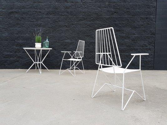 Chaises de Jardin en Fer par Mathieu Matégot, France, 1950s, Set de
