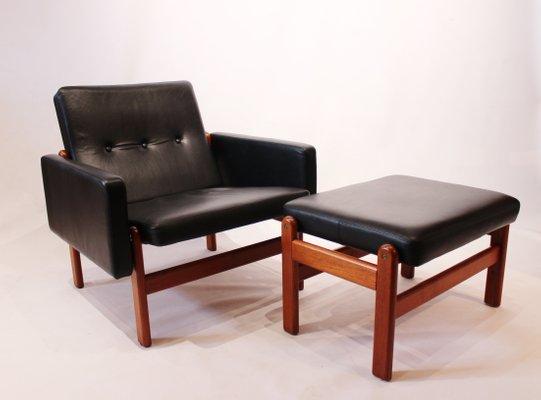 Awe Inspiring Danish Leather Teak Lounge Chair Footstool By Jorgen Baekmark For Fdb 1960S Short Links Chair Design For Home Short Linksinfo