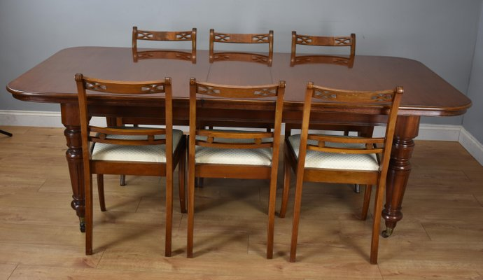Victorian Style Mahogany Dining Table & Chairs Set, 1970s