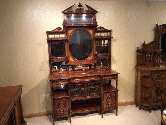 Antique Victorian Inlaid Mahogany Cabinet
