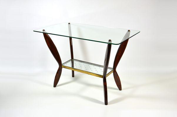 Tavolino da caffè Mid-Century in vetro e legno, Italia, anni \'50