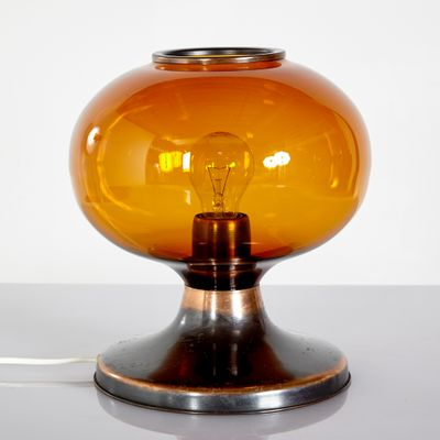 Vintage Amber Glass Metal Table Lamp 1970s