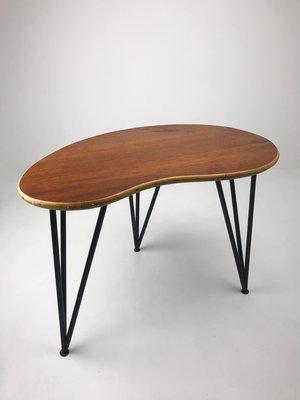 Mid Century Teak Kidney Shaped Coffee Table 1950s