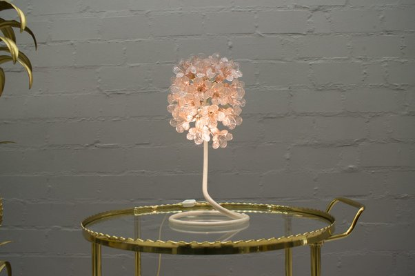 Flower Coffee Table.Mid Century Italian Murano Glass Flower Table Lamp 1960s