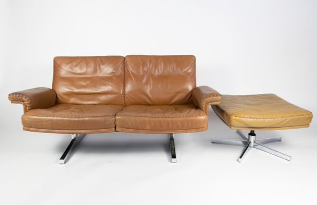 Remarkable Ds35 2 Seater Leather Sofa Ottoman Set From De Sede 1970S Dailytribune Chair Design For Home Dailytribuneorg