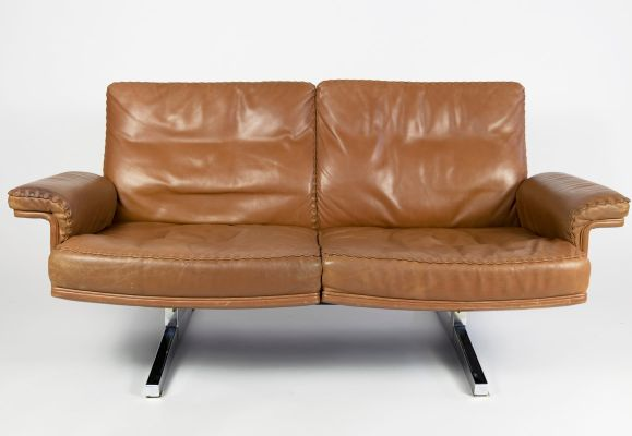 DS35 2-Seater Leather Sofa & Ottoman Set from de Sede, 1970s