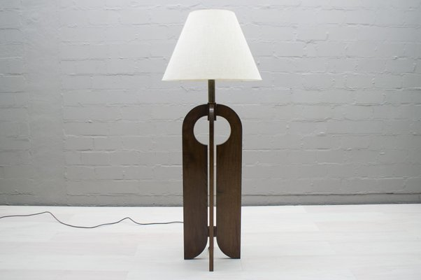 Large Wooden Floor Lamp 1960s