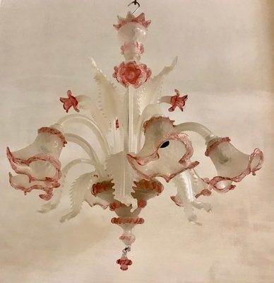 Pink Murano glass chandelier 1960s | Selency