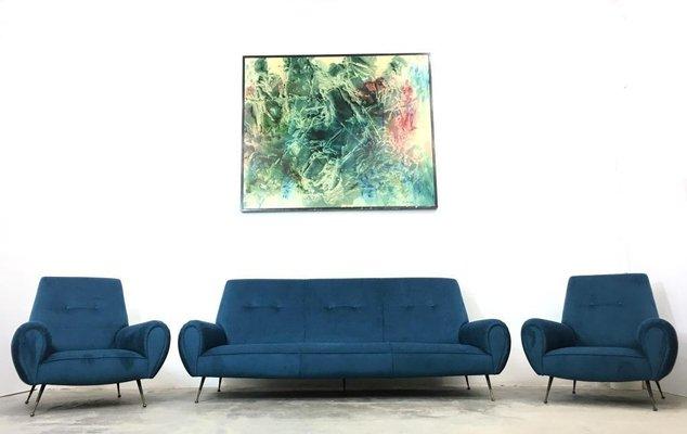 Italian Brass and Microfiber Living Room Set by Gigi Radice for Minotti,  1960s
