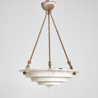 Mid Century Art Deco French Alabaster Pendant Lamp 1940s