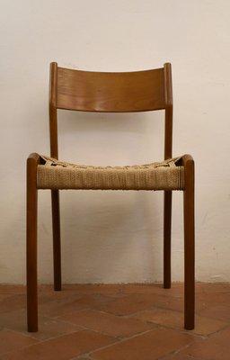 Sedie In Legno Anni 50.Sedie Da Pranzo In Corda E Legno Anni 50 Set Di 6 In Vendita Su