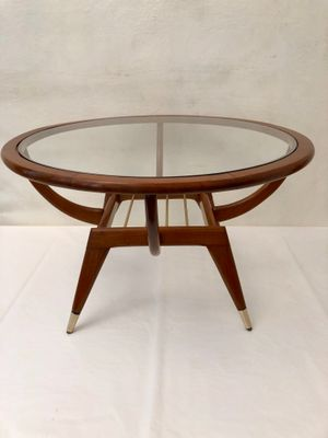 Mid Century Brass And Glass Coffee Table, 1950s