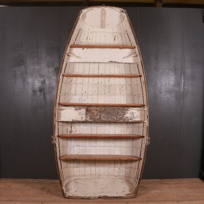 Antique Wooden Boat Bookcase For