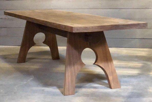 Tavolo da pranzo antico in legno di mogano sbiancato, Francia