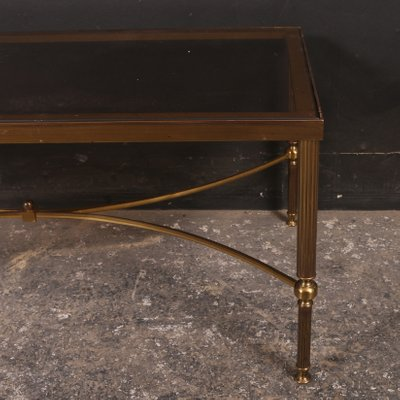 Table Basse Vintage En Laiton Et Verre 1920s