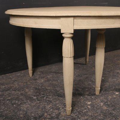 Mesa de comedor extensible sueca antigua de madera pintada, década de 1840