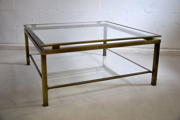 French Br And Etched Gl Coffee Table From Maison Jansen 1970s
