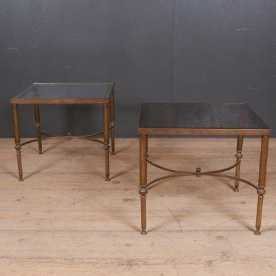 Tavolini in ottone e vetro, Francia, anni \'50, set di 2