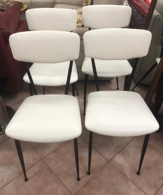 Metal And White Eco Leather Dining Chairs, 1970s, Set Of 4