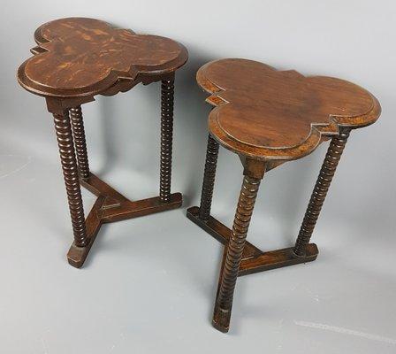 Crafts Style Oak Bobbin Side Tables