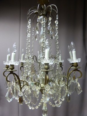 Antique French Bronze And Crystal