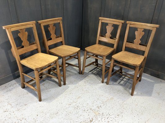 Oak Beech Fiddleback Chapel Chairs 1920s Set Of 4