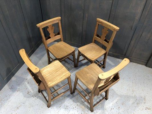 Superb Oak Beech Fiddleback Chapel Chairs 1920S Set Of 4 Inzonedesignstudio Interior Chair Design Inzonedesignstudiocom