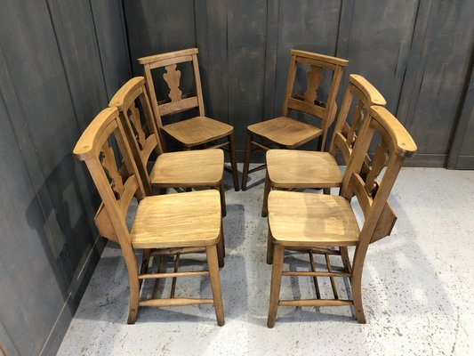 Oak Beech Fiddleback Chapel Chairs 1920s Set Of 6