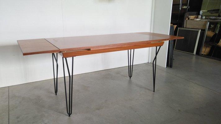 Tavolo da pranzo allungabile moderno in ferro e teak, Scandinavia, anni \'60