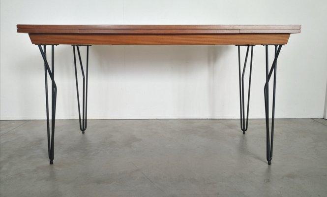 Merveilleux Scandinavian Modern Extending Iron And Teak Dining Table, 1960s