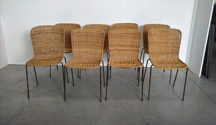 Scandinavian Modern Metal And Rattan Dining Chairs 1960s Set Of 8