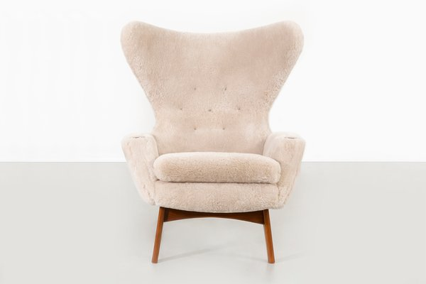Wondrous Shearling Wingback Chairs By Adrian Pearsall For Craft Associates 1960S Set Of 2 Machost Co Dining Chair Design Ideas Machostcouk