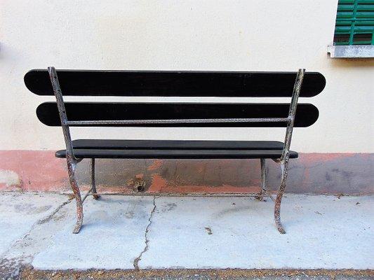 Mid Century Iron And Wood Garden Chair 1950s