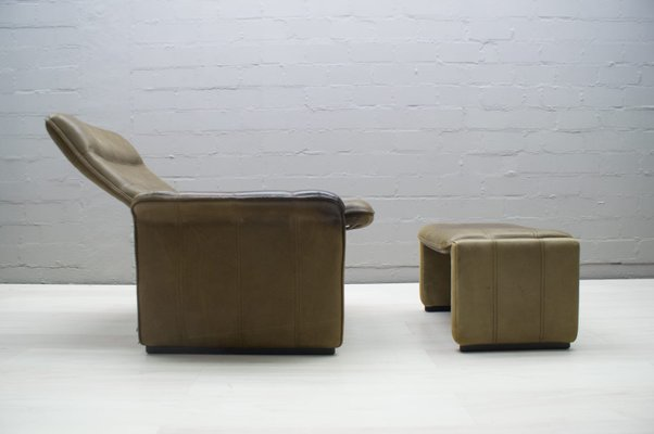 Swiss Buffalo Leather DS 50 Lounge Chair & Ottoman from de Sede, 1970s