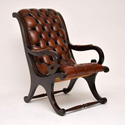 Excellent Regency Style Leather And Mahogany Armchair 1930S Frankydiablos Diy Chair Ideas Frankydiabloscom