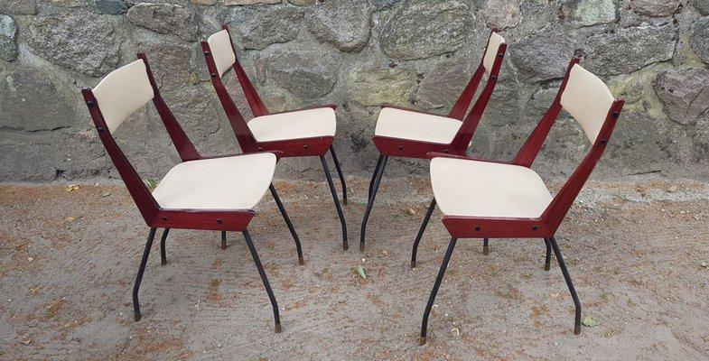 Sedie Legno E Ferro.Sedie Moderne In Ottone Ferro E Legno Italia Anni 60 Set Di 4