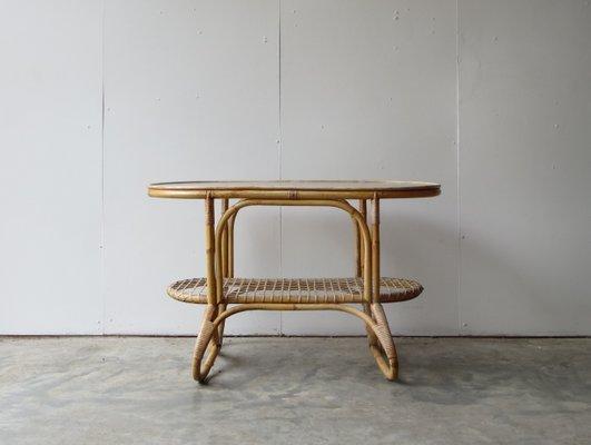 Tavolino In Vimini.Tavolino In Vimini E Vetro Di Rohe Noordwolde Anni 50