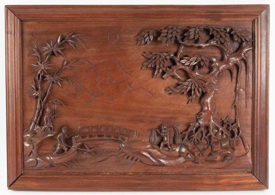 Vintage Chinese Carved Wood Panel