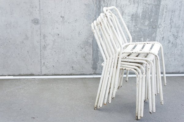 Marvelous White Metal Chairs From Tolix 1950S Set Of 6 Theyellowbook Wood Chair Design Ideas Theyellowbookinfo