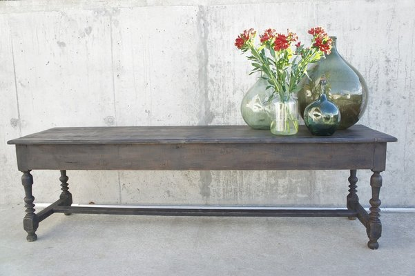 Large Antique Rustic Black Farmhouse Table For Sale At Pamono