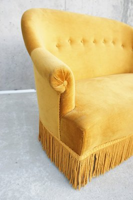 Marvelous Vintage Golden Velvet Tub Sofa Footstool 1940S Bralicious Painted Fabric Chair Ideas Braliciousco