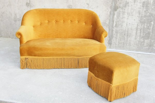 Magnificent Vintage Golden Velvet Tub Sofa Footstool 1940S Bralicious Painted Fabric Chair Ideas Braliciousco