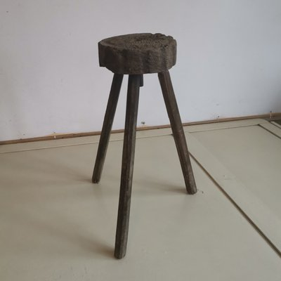 Astonishing Round Antique Hand Carved Wooden Milking Stool Pabps2019 Chair Design Images Pabps2019Com