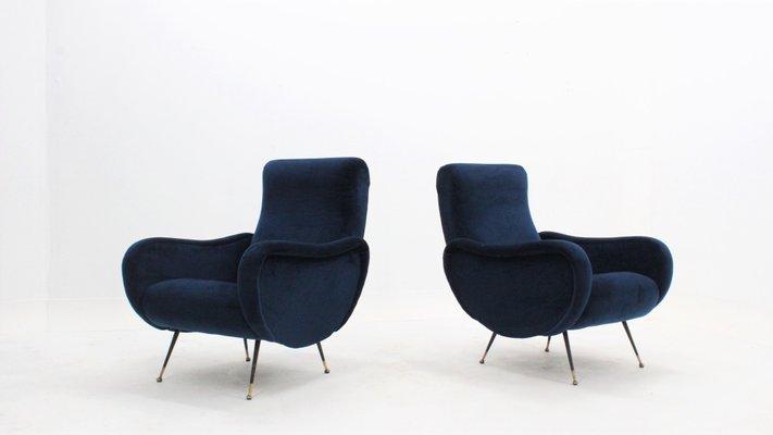 Mid Century Italian Velvet Armchairs 1950s Set Of 2 For Sale At Pamono