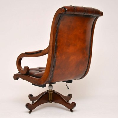 Miraculous Regency Style Leather Mahogany Swivel Desk Chair 1950S Pdpeps Interior Chair Design Pdpepsorg