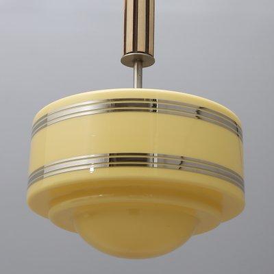 Art Deco Deckenlampe Aus Chrom Holz 1930er Bei Pamono Kaufen