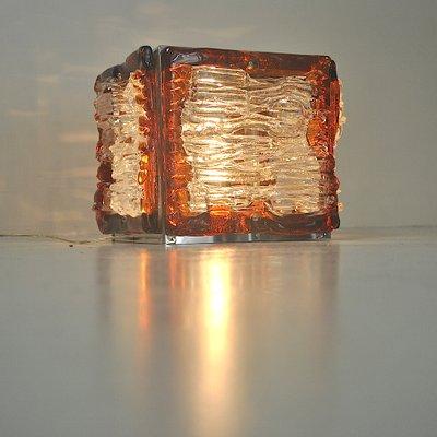 Lampe De Bureau Cube En Verre Colore Par Angelo Brotto Pour Poliarte Italie 1960s