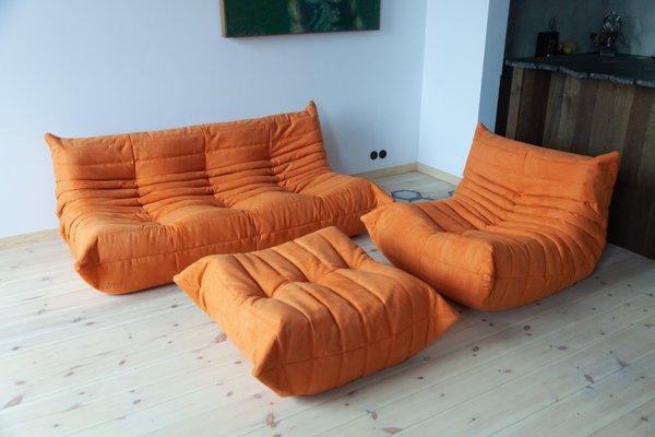 Vintage Orange Microfibre Togo Living Room Set by Michel Ducaroy for Ligne  Roset, 1970s