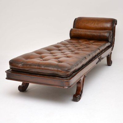 Groovy Antique Regency Leather And Mahogany Chaise Lounge Andrewgaddart Wooden Chair Designs For Living Room Andrewgaddartcom